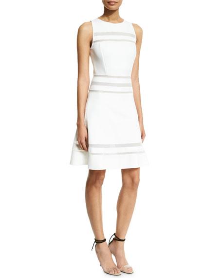 Carolina Herrera Sleeveless Day Dress W/Mesh Inset, White