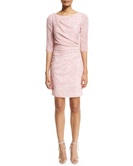 3/4-Sleeve Gathered Sheath Dress, Pink/Multi