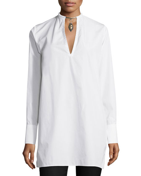 Valentino Long-Sleeve Blouse W/Warrior Necklace, White