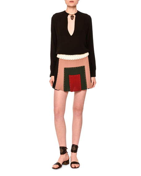 Valentino Long-Sleeve Blouse W/Warrior Necklace, Black