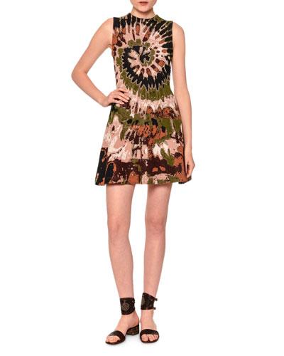 Sleeveless Tie-Dye Mini Dress, Brown/Green