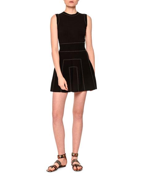 Valentino Sleeveless Embellished Mini Dress, Black