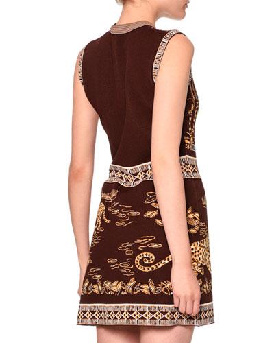 VALENTINO Sleeveless Jaguar-Print Sheath Dress, Black/Gold