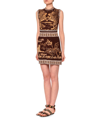 Sleeveless Jaguar-Print Sheath Dress, Black/Gold