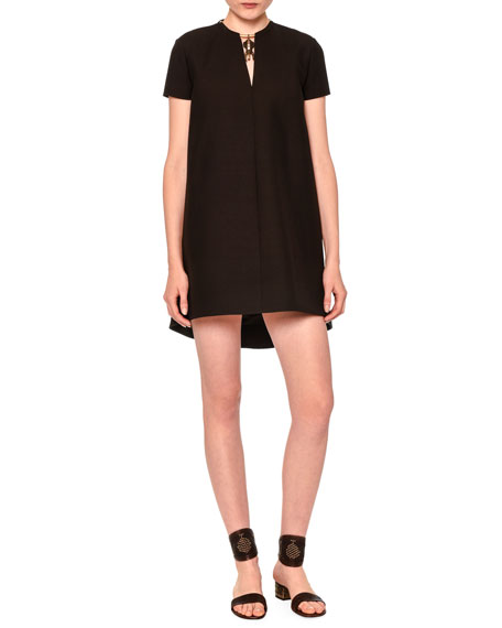 Valentino Short-Sleeve Shift Dress W/Elephant Charm, Black