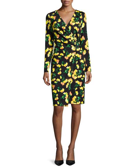 Escada Long-Sleeve Faux-Wrap Dress, Carnation