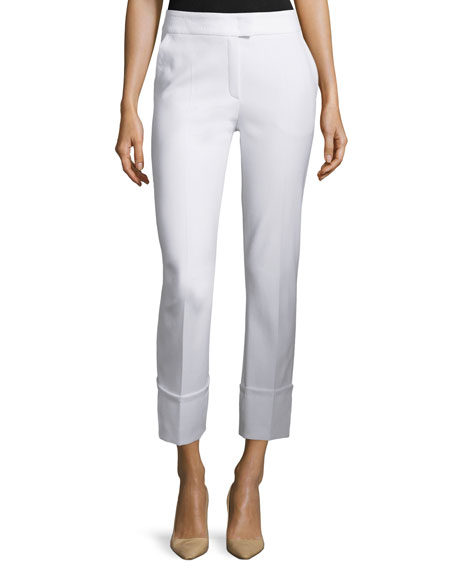 Escada Tiberla Folded-Cuff Cropped Pants, White
