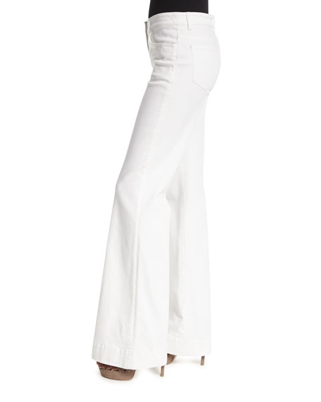 Mid-Rise Flare-Leg Jeans, White
