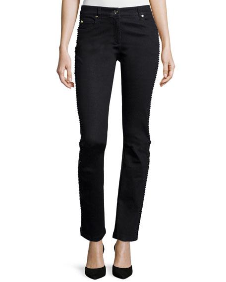 Escada Embellished Straight-Leg Jeans, Black