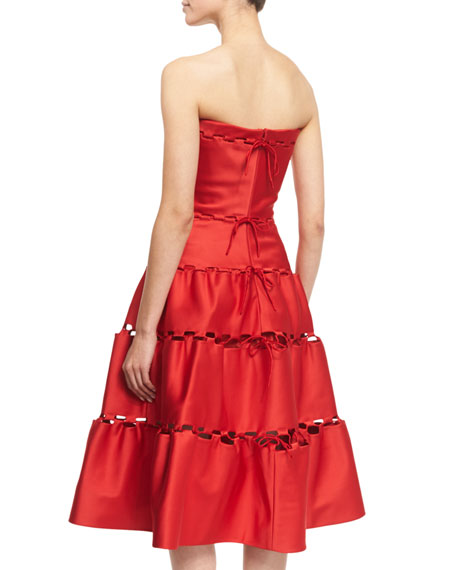 Strapless Eyelet-Trim Tea Dress, Hibiscus