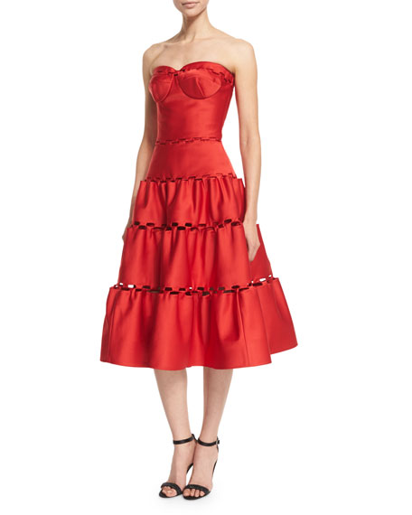 Strapless Eyelet-Trim Tea Dress, Hibiscus
