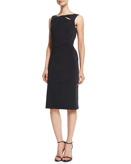 Zac Posen Sleeveless Sheath Dress W/Cutouts, Licorice