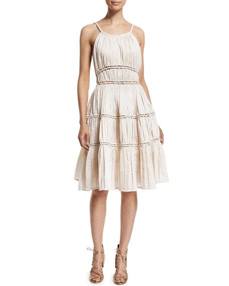 Zac PosenSleeveless Open-Stitch Seamed Dress, Porcelain