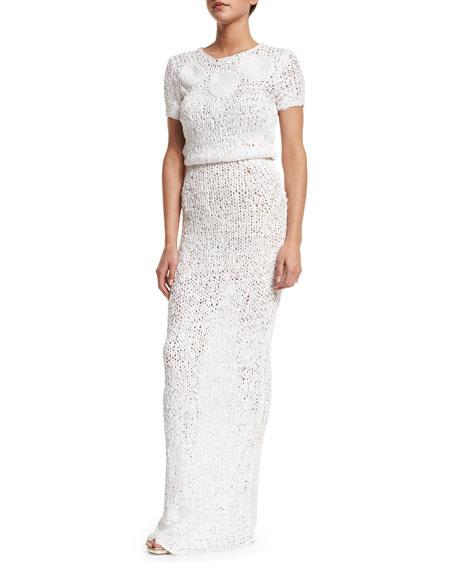 Zac Posen Short-Sleeve Round-Neck Crochet Gown, Ivory