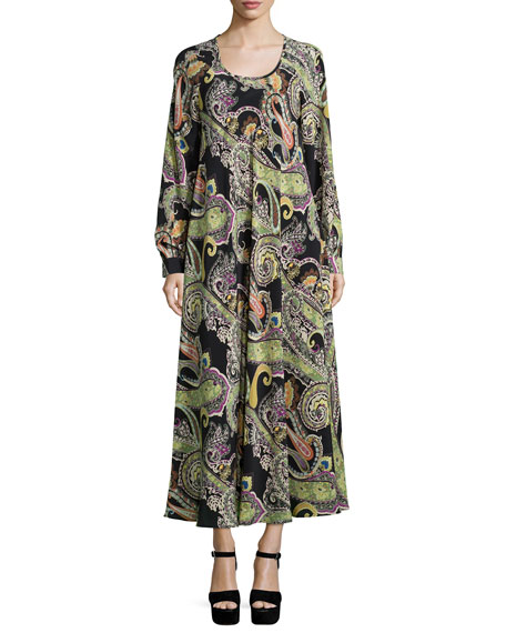 Etro Long-Sleeve Paisley-Print Dress, Black