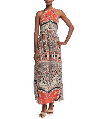 Halter-Neck Printed Maxi Dress, Red