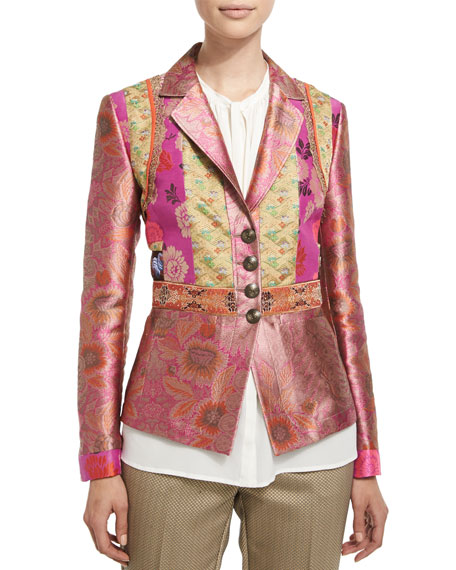 EtroFitted Button-Front Brocade Jacket, Purple