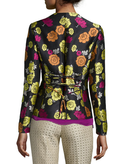 Floral-Print Corset-Back Jacket, Beige/Pink