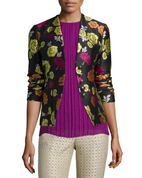 Etro Floral-Print Corset-Back Jacket, Beige/Pink