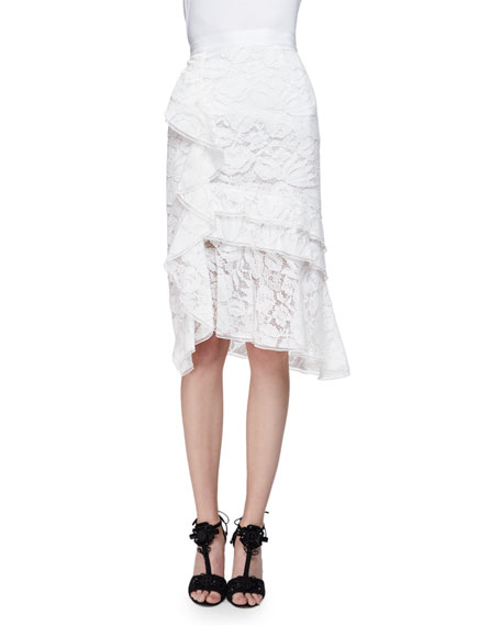Oscar de la Renta Tiered-Lace Pencil Skirt W/Ruffle,