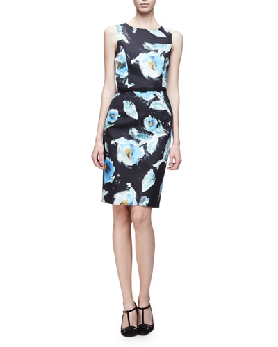 Sleeveless Floral-Print Day Dress, Black/Multi