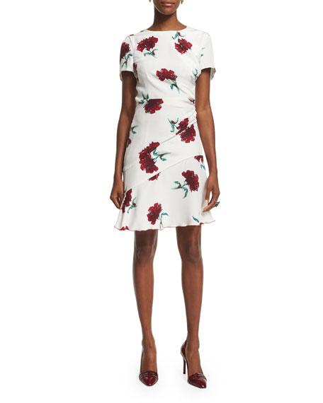 Oscar de la Renta Short-Sleeve Round-Neck Floral Silk