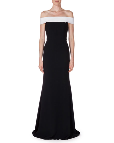 Lamble Off-The-Shoulder Two-Tone Gown, Black/White