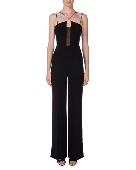 Malvern Lace-Inset Jumpsuit, Black