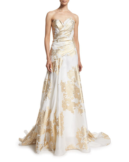 Sweetheart-Neck Pleated-Bodice Gown, White/Gold