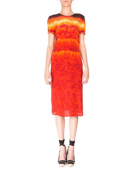 Altuzarra Rolled Short-Sleeve Silk Tie-Dye Dress, Ceramic Orange
