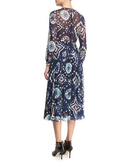 Long-Sleeve Floral Tie-Dye Midi Dress, Crepon Ink