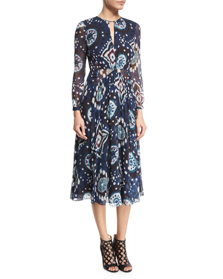 Burberry Prorsum Long-Sleeve Floral Tie-Dye Midi Dress, Crepon