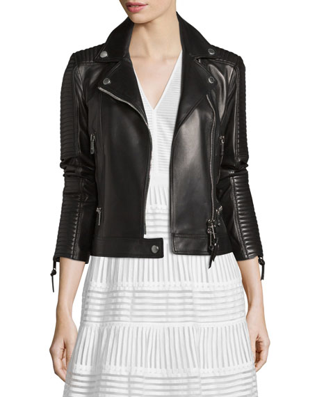 Zip-Front Leather Biker Jacket, Black