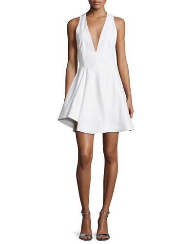 Sleeveless Flirty Open-Back Dress, White