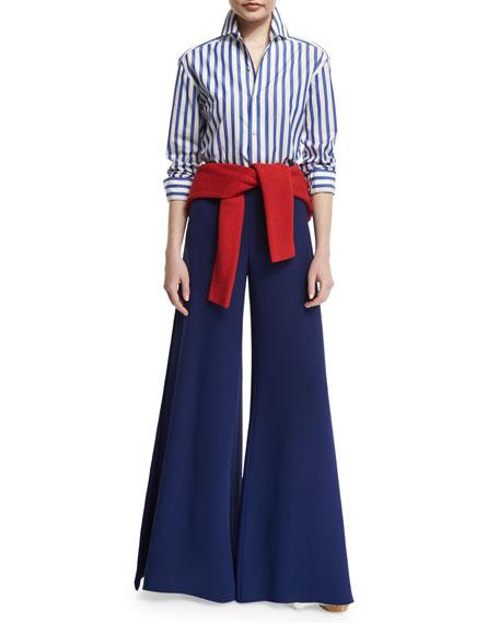 Adele Bicolor Wide-Leg Pants, Royal Navy