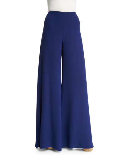 Adele Bicolor Wide-Leg Pants, Royal Navy