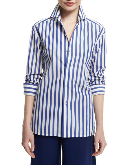 Ralph Lauren French Capri Striped Dress Shirt, White/Classic