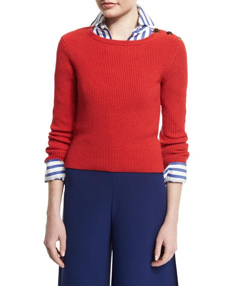 Ralph Lauren Button-Shoulder Long-Sleeve Sweater, Bright Red