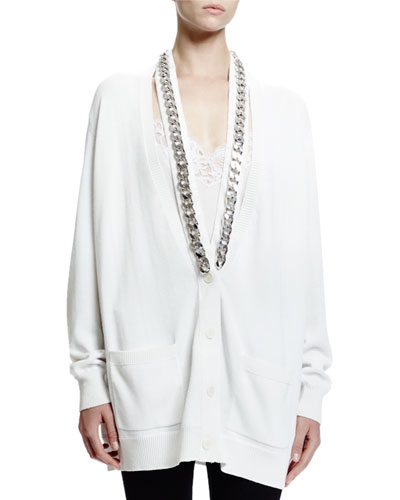 Chain-Trim Button-Front Cardigan, White