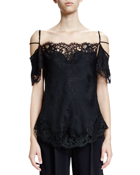 Givenchy Off-The-Shoulder Lace-Trim Blouse, Black