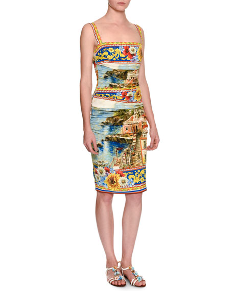 Dolce & Gabbana Sorrento Sleeveless Ruched Tank Dress,