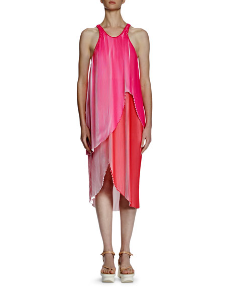 Stella McCartney Primrose Sleeveless Racerback Plisse Dress,