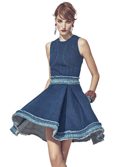 Sleeveless Denim Dress W/Raw-Edge Trim, Dark Vintage Wash