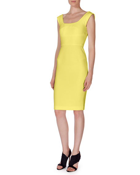 Roland Mouret Arabella Textured Sheath Dress, Yellow