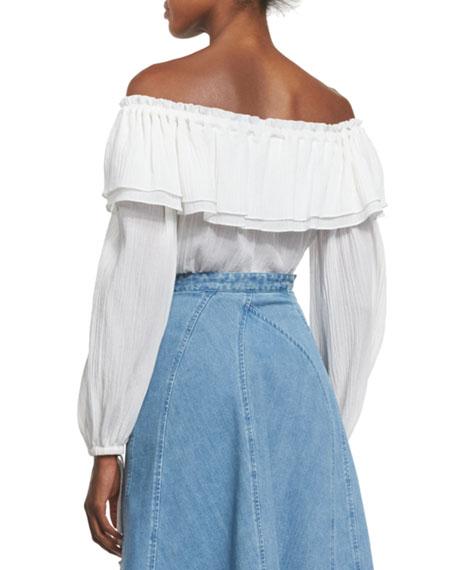 Off-Shoulder Cotton Peasant Blouse, Optic White