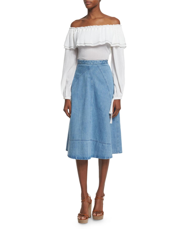 Michael Kors Collection Off Shoulder Cotton Peasant Blouse Optic
