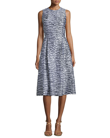 Michael Kors Collection Sleeveless Pleated Dance Dress, Indigo/White