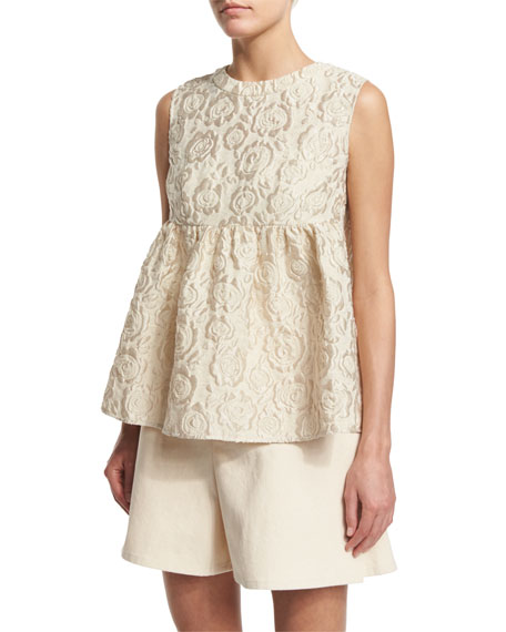 Co. Sleeveless Matelasse Empire Top, Ivory