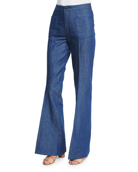 Co High-Waist Flare-Leg Jeans, Pale Blue