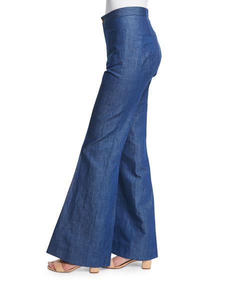 High-Waist Flare-Leg Jeans, Pale Blue